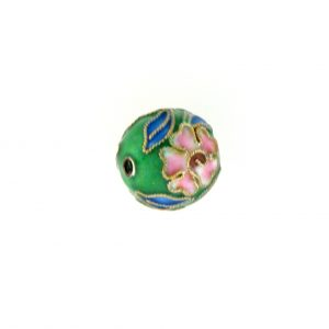 8312AW - 12mm Round Cloisonne Bead - Green