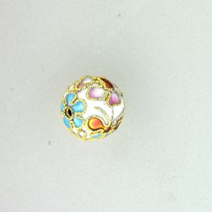 8312AW - 12mm Round Cloisonne Bead - White