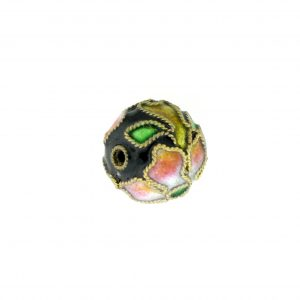 8314AW - 14mm Round Cloisonne Bead - Black