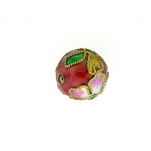 8314AW - 14mm Round Cloisonne Bead - Brown