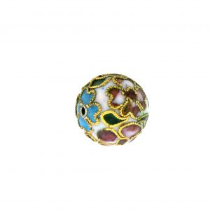 8314AW - 14mm Round Cloisonne Bead - White