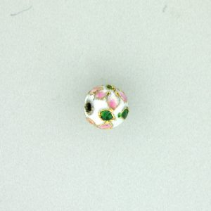 8316AW - 16mm Round Cloisonne Bead - White