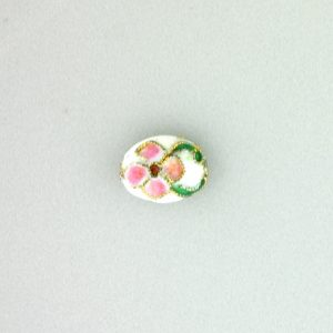 8411AW - 10x8mm Flat Oval Cloisonne Bead - White