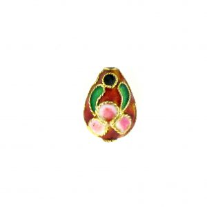 8414AW - 13x10mm Drop Cloisonne Bead - Red