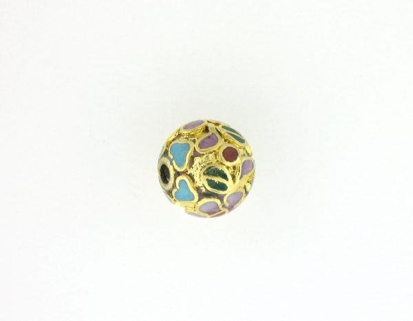 8514C - 14mm Round Cloisonne Bead - Gold