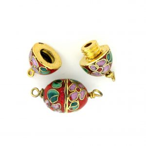 8620C - 12x10mm Cloisonne Clasp Bead - Red
