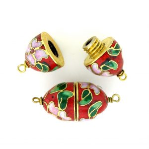 8621C - 20x12mm Clasp Cloisonne Bead - Red
