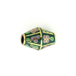 8651C - 17x12mm Oval Cloisonne Bead - Green