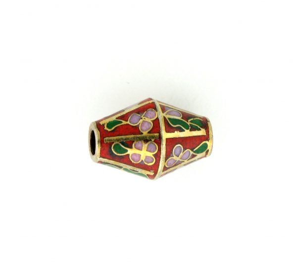 8651C - 17x12mm Oval Cloisonne Bead - Red