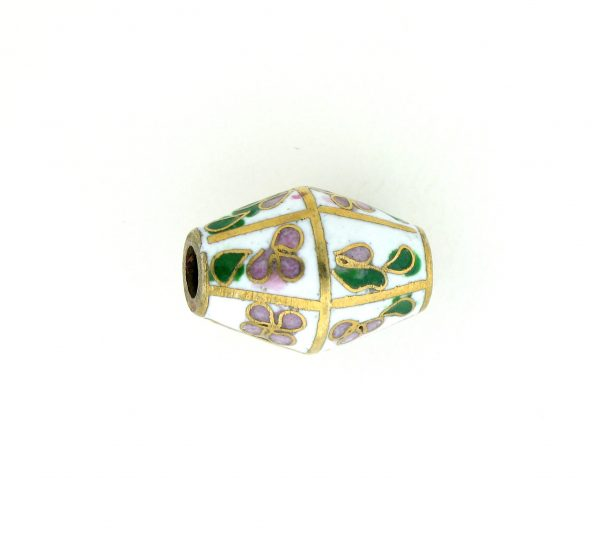 8651C - 17x12mm Oval Cloisonne Bead - White