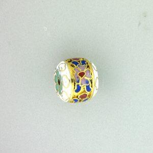 8652C 12x10mm Fancy Cloisonne Bead - White