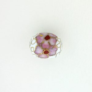 8655C - 11x14mm Oval Cloisonne Bead - White