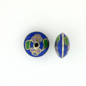 8700C - 11mm Rondelle Cloisonne Bead - Blue