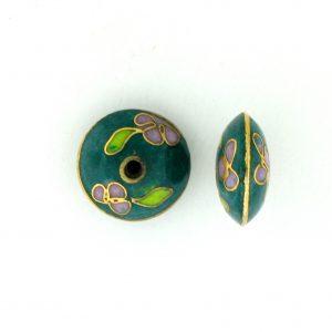 8700C - 11mm Rondelle Cloisonne Bead - Green