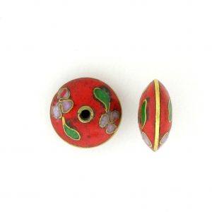 8700C - 11mm Rondelle Cloisonne Bead - Red
