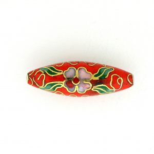 9000C - 26x9mm Oval Cloisonne Bead - Red