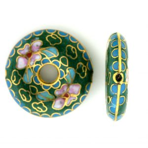 9004C - 27mm Flat Round Cloisonne Bead - Green