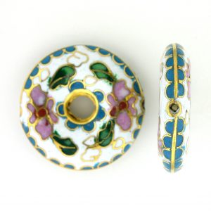 9004C - 27mm Flat Round Cloisonne Bead - White