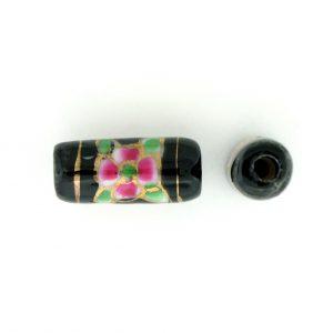 9038P - 12x7mm Tube Porcelain Bead - Black