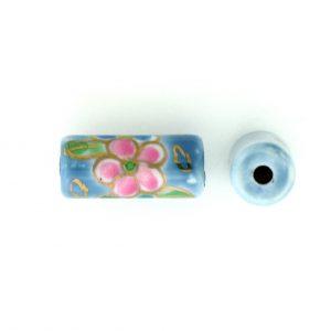 9038P - 12x7mm Tube Porcelain Bead - Light Blue