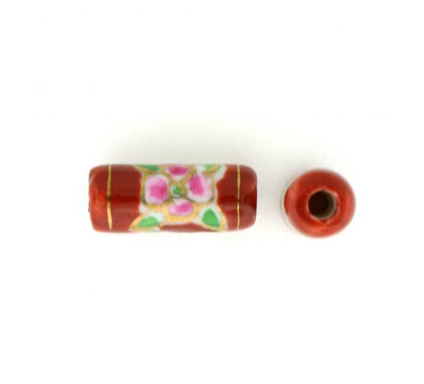 9038P - 12x7mm Tube Porcelain Bead - Brown