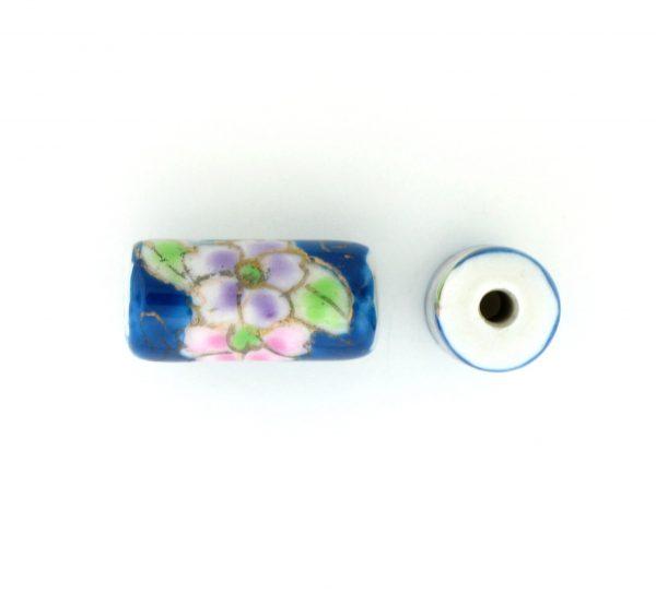 9038P - 12x7mm Tube Porcelain Bead - Blue Zircon