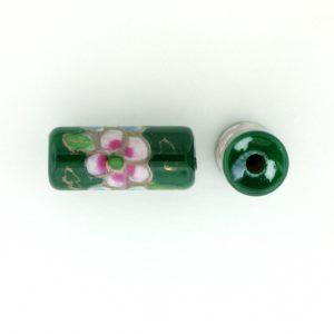 9038P - 12x7mm Tube Porcelain Bead - Green