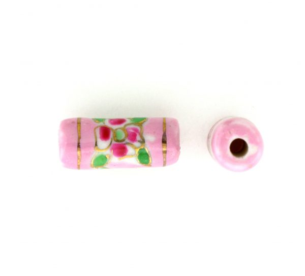 9038P - 12x7mm Tube Porcelain Bead - Pink