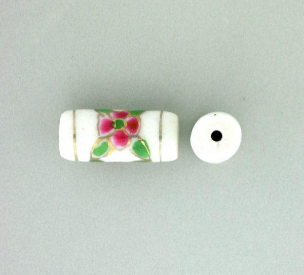 9038P - 12x7mm Tube Porcelain Bead - White