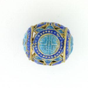 8154M - 14x15mm Fancy Metal Bead - Blue