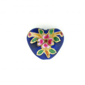 9037P - 15x18mm Fancy Porcelain Heart - Blue