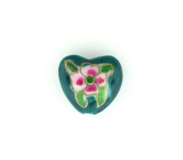 9037P - 15x18mm Fancy Porcelain Heart - Green