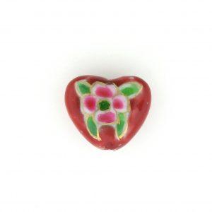9037P - 15x18mm Fancy Porcelain Heart - Red