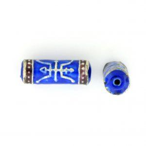 9041M - 6x20mm Fancy Metal Bead - Blue