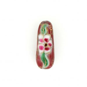9043P - 8x21mm Drop Porcelain Bead - Red