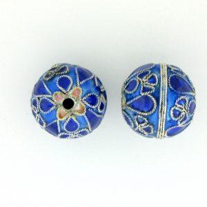 9053M - 12mm Fancy Metal Bead - Blue