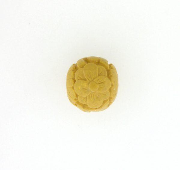 9060 - 12mm Round Cinnabar Bead - Yellow