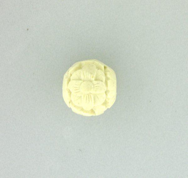 9060 - 12mm Round Cinnabar Bead - White