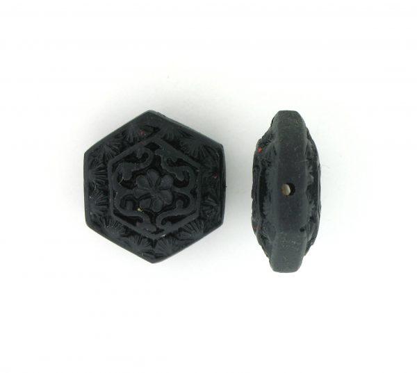 9062 - 16mm Flat Cinnabar Bead - Black
