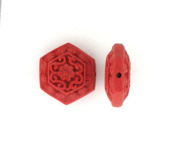 9062 - 16mm Flat Cinnabar Bead - Red