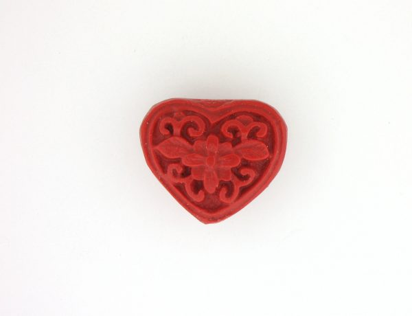 9064 - 17x20mm Cinnabar Heart - Red