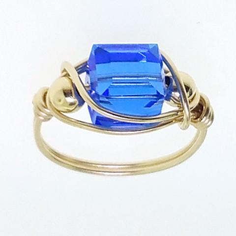 12142 - Gold Filled Ring With Swarovski Cube Crystal