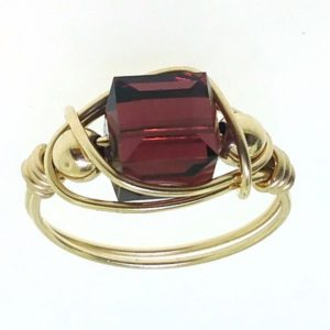 12143 - Gold Filled Ring With Swarovski Cube Crystal