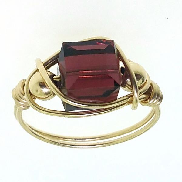 4792406fe 12143 - Gold Filled Ring With Swarovski Cube Crystal | Crystal Findings