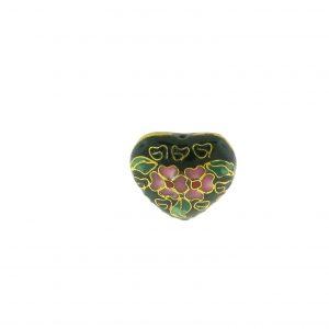 9083C - 19x21mm Heart Cloisonne Bead - Black