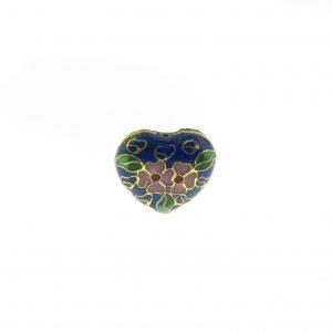 9083C - 19x21mm Heart Cloisonne Bead - Blue