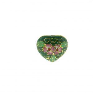 9083C - 19x21mm Heart Cloisonne Bead - Green