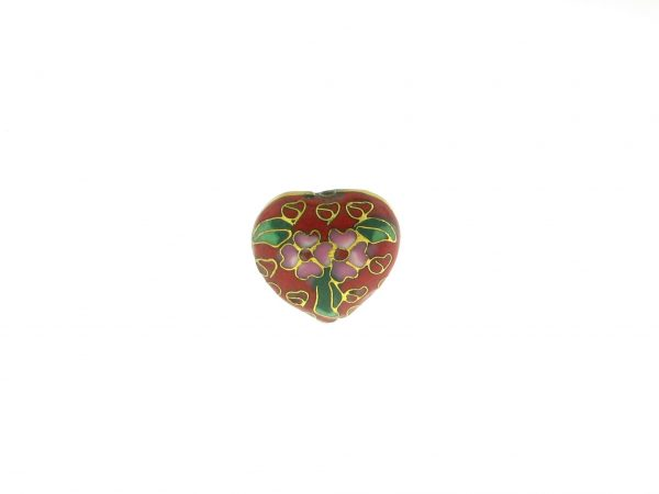 9083C - 19x21mm Heart Cloisonne Bead - Red