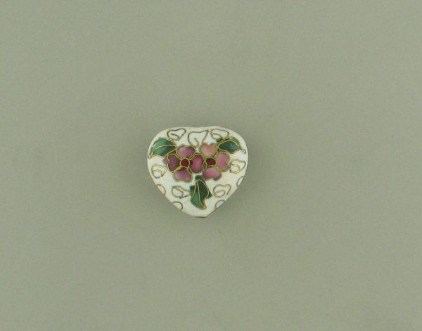 9083C - 19x21mm Heart Cloisonne Bead - White