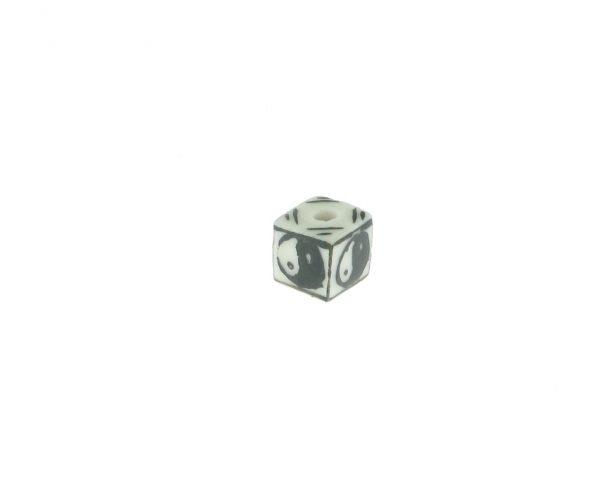 9080 - 9x9mm Square Ying Yang Porcelain Bead